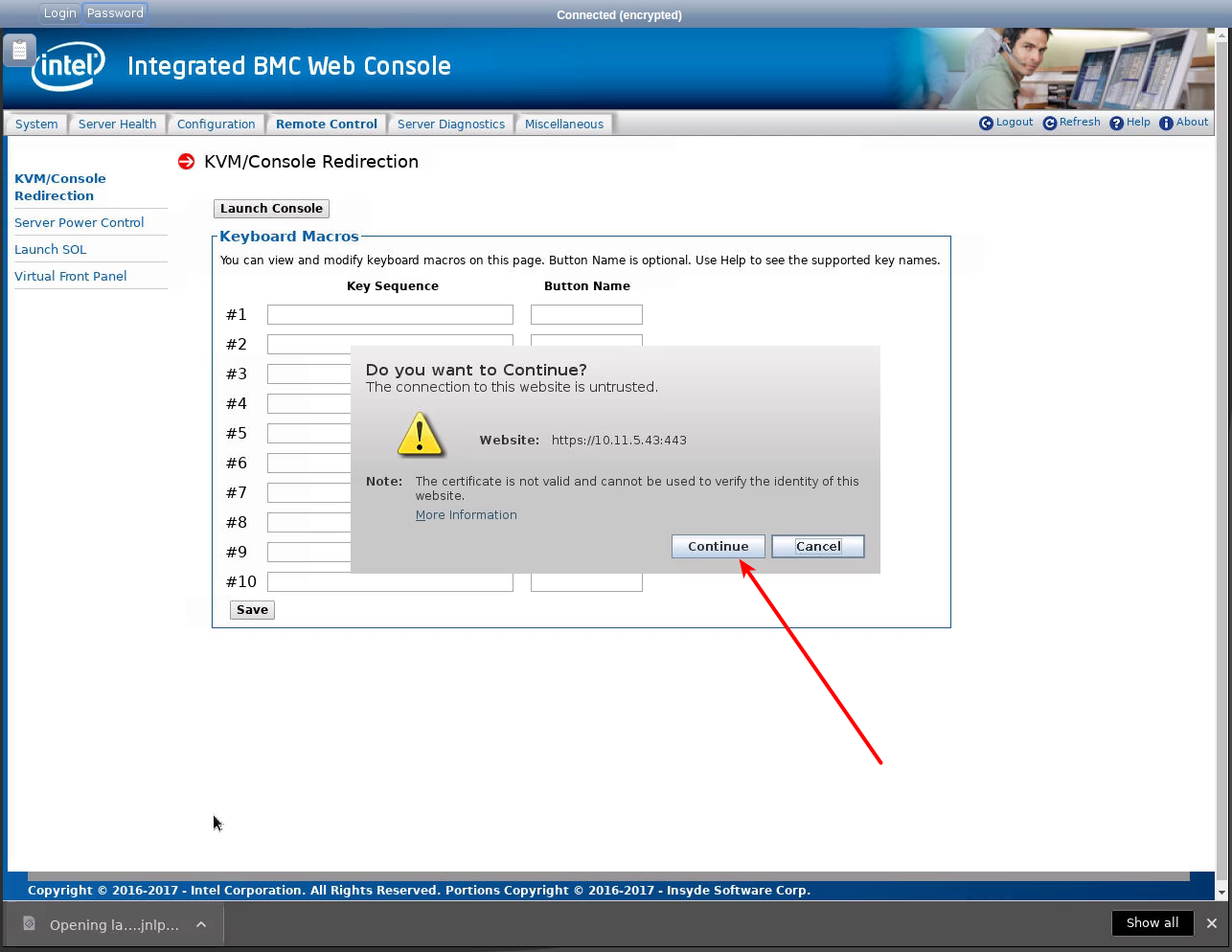 Working in the IPMI Intel BMC web-interface via noVNC