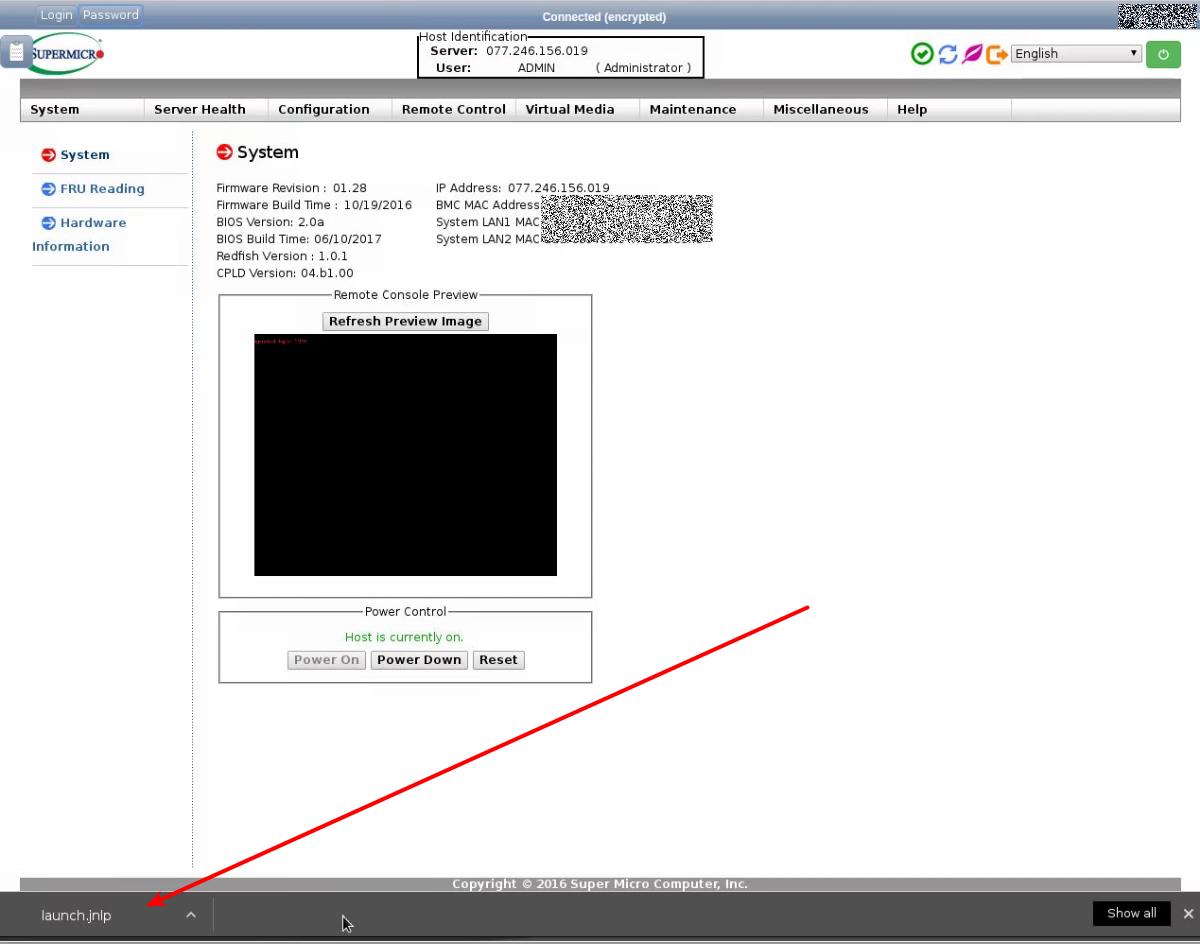 Working in the IPMI SuperMicro 2016 web-interface via noVNC